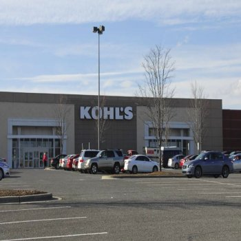 The front entrance and parking lot of a Kohl's building located in Franklin Square III shopping center in North Carolina.