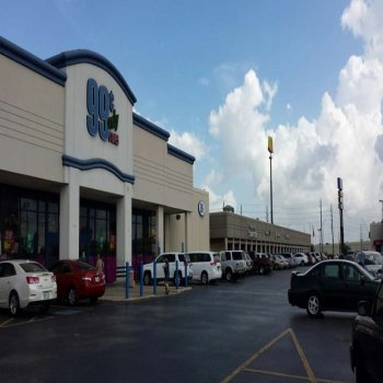 Front entrance of a 99 cents store locate in Mason Village shopping center in Texas.